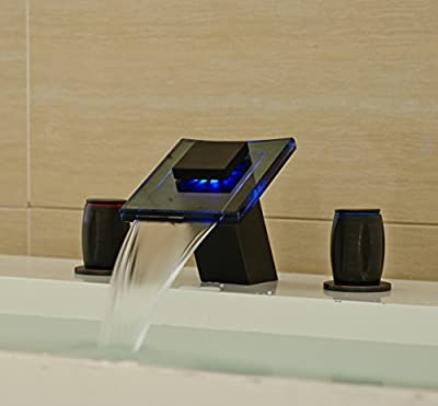 Rozin® Oil Rubbed Bronze Waterfall Bathroom Sink Faucet with LED Light