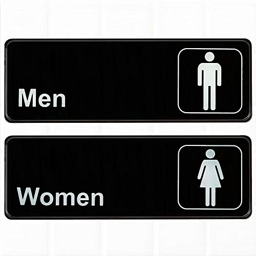 (Set of 2) Restroom Signs, Mens and Womens Restroom Signs - Black and White, 9 x 3-inches Bathroom Signs, Restroom Signs for Door / Wall by Tezzorio