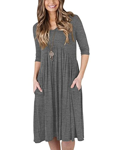 Womens 3 4 Sleeve with Pockets Full V Neck Swing Mid Loose Pinup Casual Spandex Dress Grey Size 6