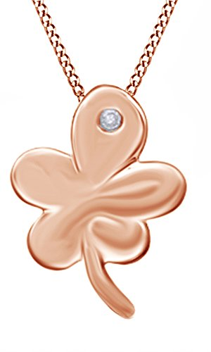 Natural Diamond Accent Clover Pendant Necklace In 14K Rose Gold Over Sterling Silver (Pendant Clover Diamond Accent)