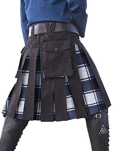 (Mens Utility Kilt Black Scottish Black & Irish Tartan Hybrid Royal Stewart Pockets Kilt Pin)