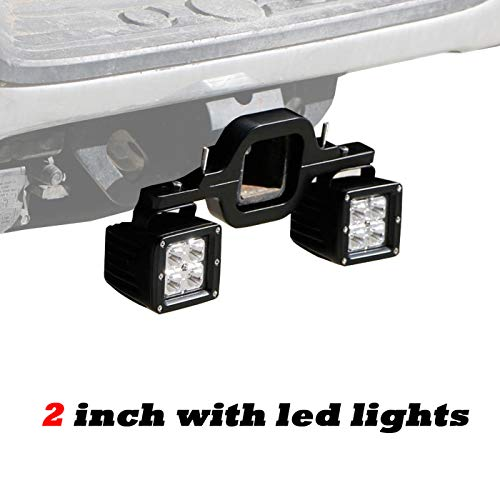 omotor 2 Inch Hitch Light Bracket Towing Hitch Light Mount for Truck Trailer RV SUV Pick Up Fit Dual LED Work Light Driving Lighting Reverse Rear Back Up Off Road (2 Inch with Led Lights)