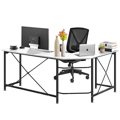Computer Desk, Modern PC Laptop Home Office Desk, Industrial Style Design L-Shaped Corner Desk for Home Office Desk with MDF Board, 64.9x49x29.7 Inches, White
