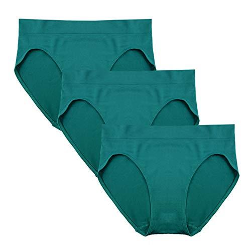 FEM Women's Underwear Seamless Briefs High-Cut Panties - 3 Pack or 4 Pack (Large, Peacock Blue) (Cut High Panty Brief Blue)