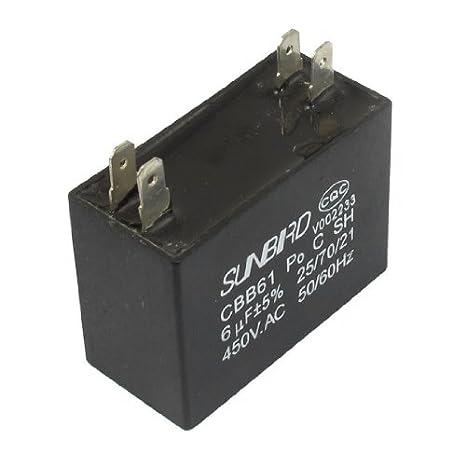 DealMux a12082300ux0409 CBB61 450VAC 6uF 4 Terminal de aire acondicionado ventilador funcionando capacitor: Amazon.es: Industria, empresas y ciencia
