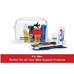 TSA Approved Clear Travel Toiletry Bag | Quart Sized with Zipper | Airport Airline Compliant Bag | Carry-On Luggage Travel Backpack for Liquids/ Bottles| Men's/Women's 3-1-1 Kit +10 Travel Hacks EBOOK