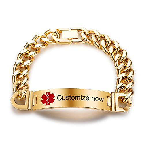 SL Free Engraving Custom Stainless Steel Medical Alert Awareness Bracelet Allergy Disease Name ICE Number ID Identification Curb Chain Bangle for Dad,Mom,Son,Daughter,Emergency Life ()