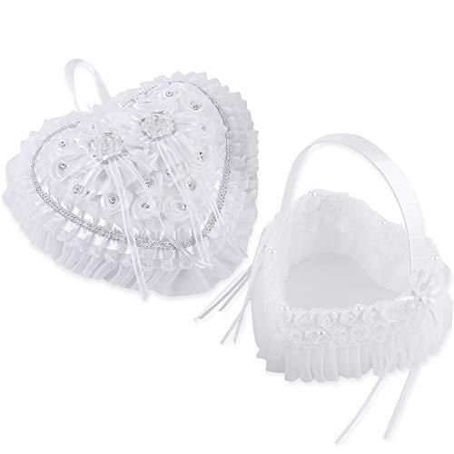LONGBLE 2Pcs Set Satin Wedding Flower Girl Basket + Heart Shape Ring Bearer Pillow Rings Holder Box with Rose Rhinestones and Flowers Decor Set Ivory Wedding Ceremony Favors B