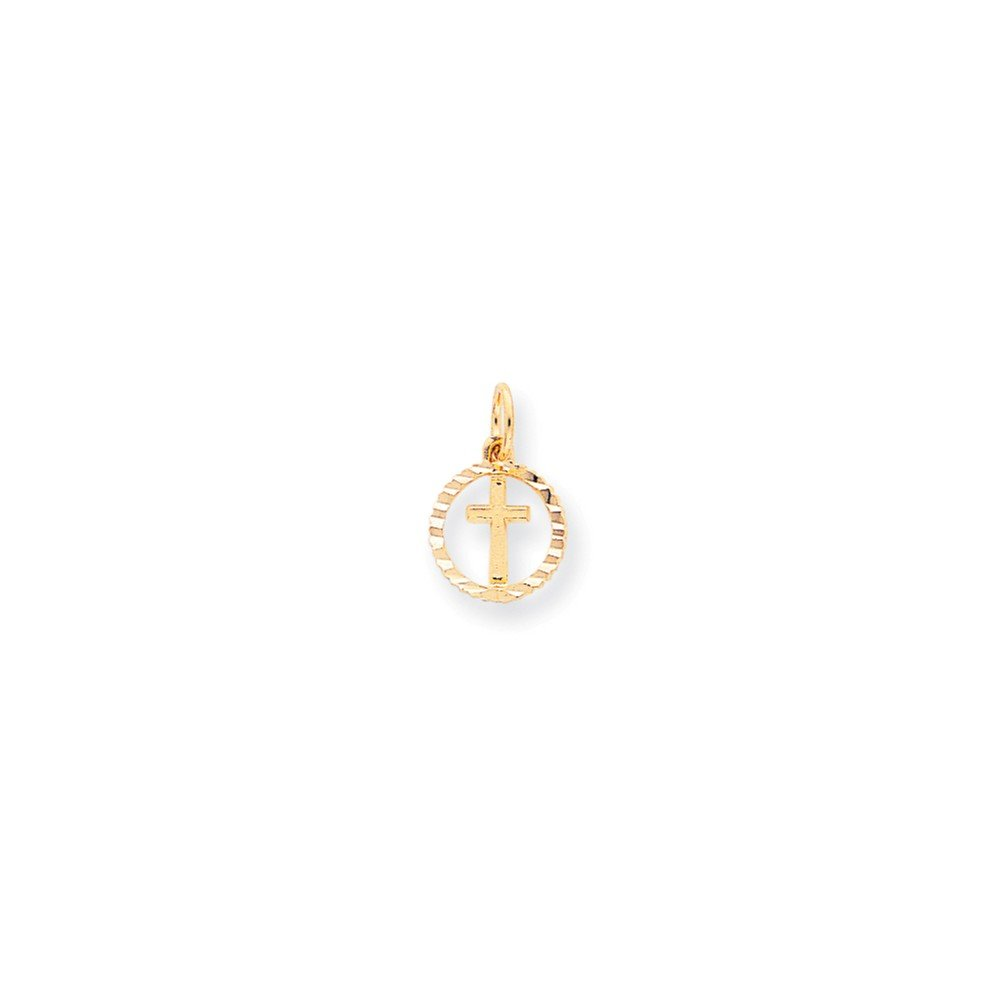 Quinn's Gold 10k Solid Flat-Backed Cross in Circle for Eternal Life Charm Quinn' s Gold 10C296