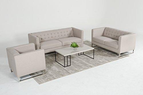 Limari Home Mona Collection 3 Piece Modern Fabric Upholstered Living Room Sofa Set, Grey (3 Piece Sofa Collection)