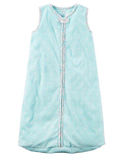 Blue Fleece Carters (Carter's Unisex Baby Fleece Sleepbag Sleepsuit, Sleeveless Blue/Pink Polka Dots, Medium 6-9 Months)