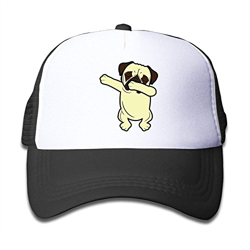 Waldeal Funny Dabbing Pug Cute Dabbing Dog Kids Mesh Hat Adjustable Baseball Cap