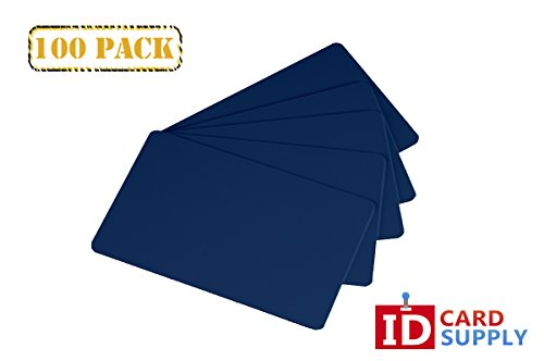 Pack of 100 Royal Blue CR80 Standard Size PVC Cards | 30 mil Thickness by easyIDea