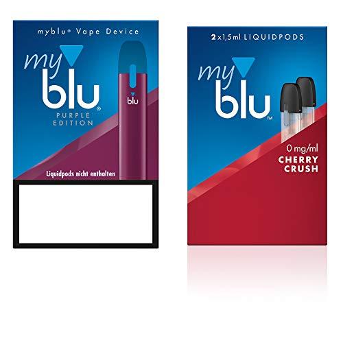 Elektrische Zigarette myblu Farbe Purpur – Starter Set mit Podpack Aroma Cherry Crush – Ohne Nikotin