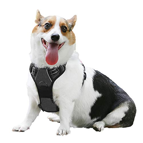 Eackrola Dog Harness No Pull Pet Harness Adjustable Outdoor Pet Vest 3M Reflective Oxford Compound Material Vest for Dogs Easy Walk Control for Small Medium Large Dogs (Black,M) ()