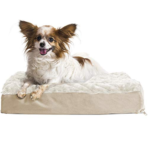 FurHaven Pet Dog Bed | Deluxe Orthopedic Ultra Plush Mattress Pet Bed for Dogs & Cats, Cream, Small