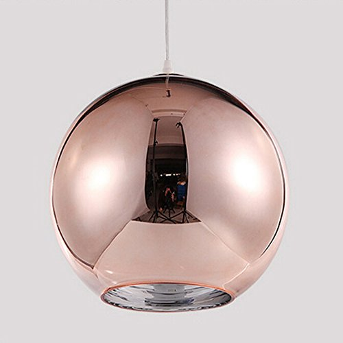 Ball Pendant Lamp (Motent Industrial Modern Mini Globe Rose Gold Glass Single Head Ceiling Lamp Shade Chromed Ball Pendant Light Fitting Set for Resturant Living Room Coffee House - 5.9 inches)