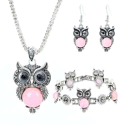 Bluegoog Vintage Owl Necklace Set Boho Style Stainless Steel Turquoise Bracelet Earrings Jewelry Set for Womens (Pink)