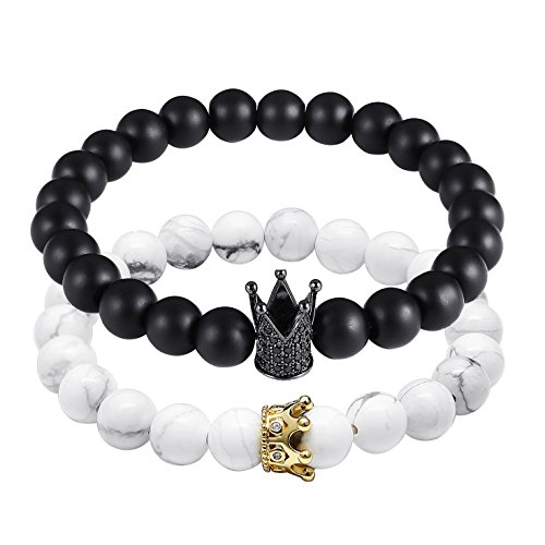 Gagafeel Couple Distance Bracelets Matte Agate & White Howlite 8 mm Beads with CZ Crown His Hers Friendship Bracelet (Black&White) by GAGAFEEL