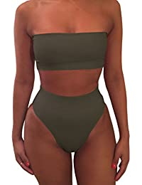 Women's Removable Strap Wrap Pad Cheeky High Waist Bikini...