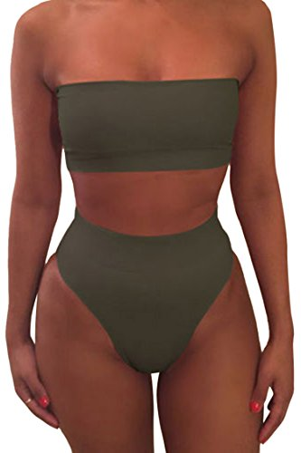 Pink Queen Women's Remove Strap Pad Thong Bikini Set Swimsuit Amry Green L