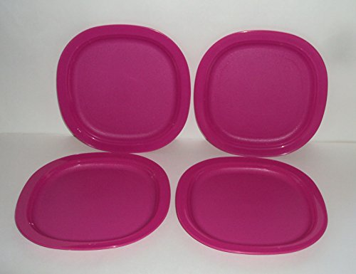 Tupperware Set of 4 Open House Microwave 7 3/4 Inch Dessert Plates Fuchsia Pink