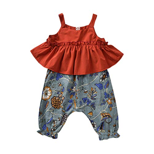 Toddler Baby Girl Summer Ruffled Strap Sleeveless Dress Tops Floral Long Pants Causal Loose Outfit Clothes Set (Dress Red, 4-5 Years) ()