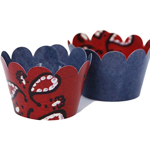 Theme Denim (MINI Western Cowboy Theme Cupcake Wrappers, Red Bandana Patterned, Blue Denim, 24 Reversible Wraps, Confetti Couture Party)
