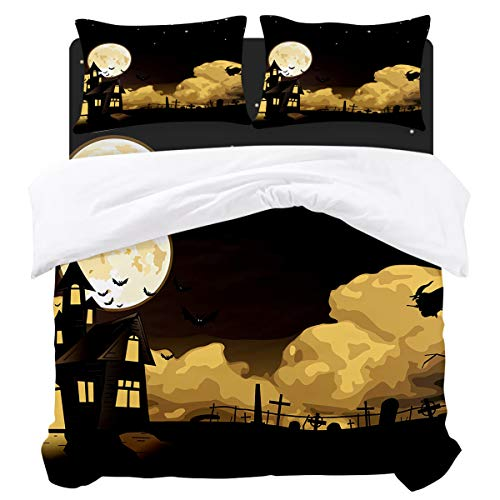 BABE MAPS Duvet Cover Set Mysterious Halloween Theme Bat Castle Witch Pattern Ultra Soft Breathable Extremely Durable Twill Plush 4 Piece Bedding Sets for Childrens/Kids/Teens/Adults, Twin Size -