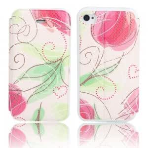 Flower Pattern Flip-open PU Leather Protective Case for iPhone 4/4S ( 27 )
