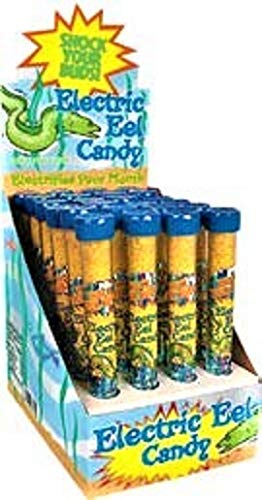 Electric Eel Candy ''Electrifies Your Mouth'' Green apple Flavor Tubes - 24-Count Display Box by Squire Boone