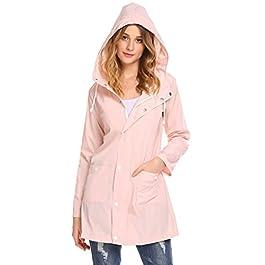SoTeer Women's Waterproof Lightweight Rain Jacket Outdoor Hooded Raincoat