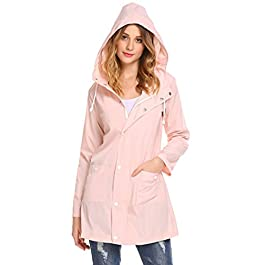 Women's Waterproof Lightweight Rain Jacket Outdoor Hooded Raincoat