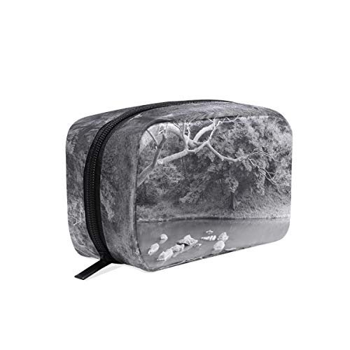 Cosmetic Makeup Bag Pouch White Monochrome Snow Winter Branch Clutch ()