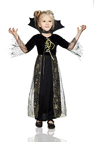 [Kids Girls Spiderella Halloween Costume Black Spider Witch Dress Up & Role Play (6-8 years, black and] (Beautiful Witch Costumes)