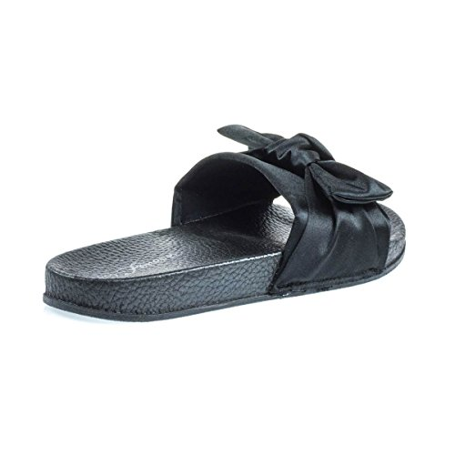 Sandalo Sandalo Piatto W Plantare Sagomato E Spesso In Raso E Fiocco In Raso Nero