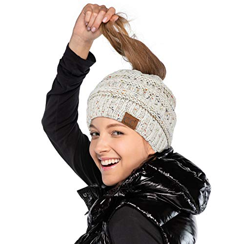Hatsandscarf CC Exclusives Ribbed Confetti Knit Beanie Tail Hat Adult (MB-33) (Oatmeal)