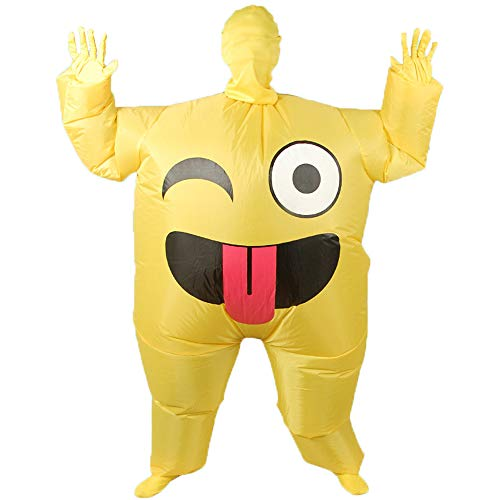 Inflatable Giant Poop Smile Cry Costume for Adult Funny Halloween Party Costumes Blow up Suit - Smile