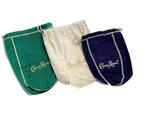 Pack of 3 Crown Royal Bags Gold Drawstrings 750 ml Apple, Rye, Original Mini]()
