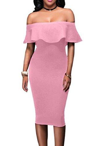 Pink Pencil Bodycon Waist Womens Solid Comfy Dress Dress PBzqPw