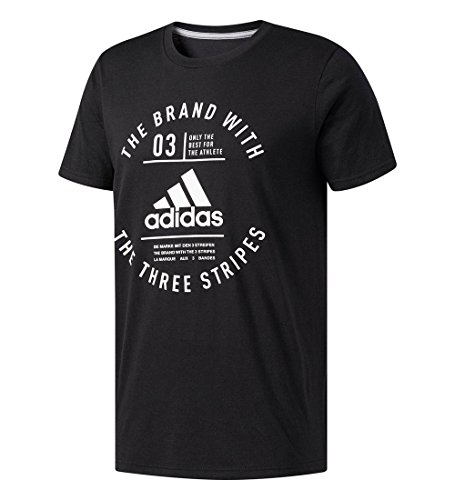 adidas Men's Graphic Tee, Black/White/Emblem, Medium - Essentials Graphic Tee