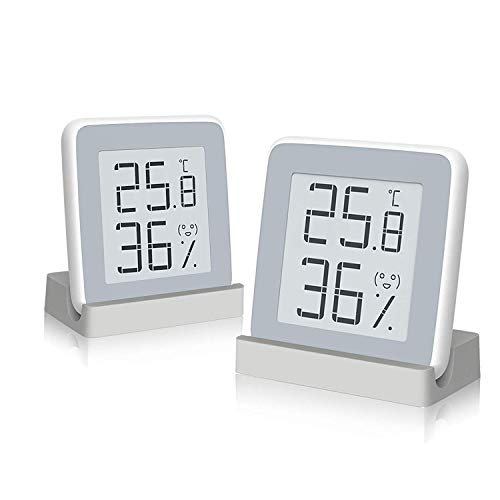 Homidy Digital Hygrometer Indoor Thermometer, Xiaomi Mijia 360°HD E-Ink Screen Room Humidity Guge Swiss Sensirion Industrial Grade High Accuracy Temperature Humidity Meter (Fashion White-2 Pack)