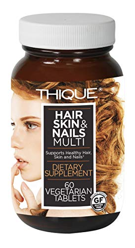 THIQUE Hair, Skin & Nails Vegan Supplements for Women with Biotin and Vitamins A, C, D & E