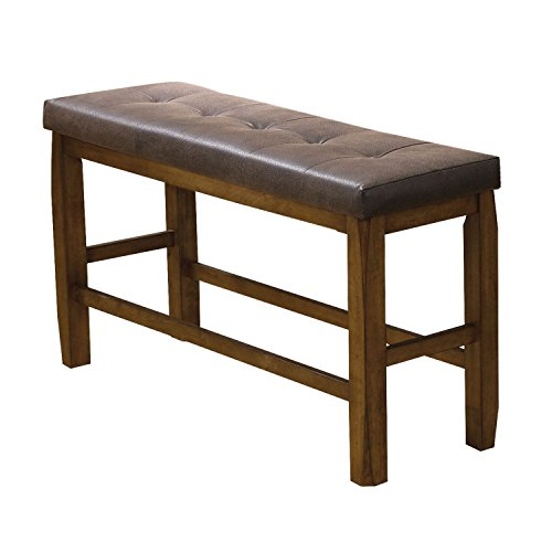 ComfortScape CS-00847 Morrison Counter Height Bench with Storage, Brown PU/Oak