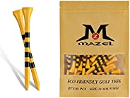 """MAZEL Professional Natural Wood Golf Tees Pack of 50 (Two Sizes 2-3/4"""" & 3-1/4""""),Reduce Friction"""