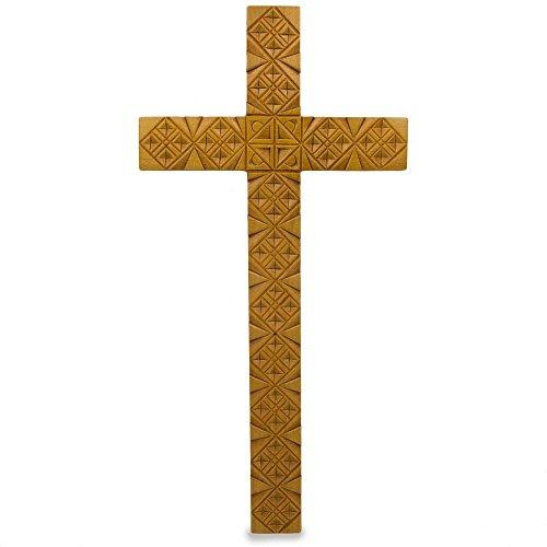 - BestPysanky Hand Carved Ukrainian Oak Wood Wall Cross 8 Inches