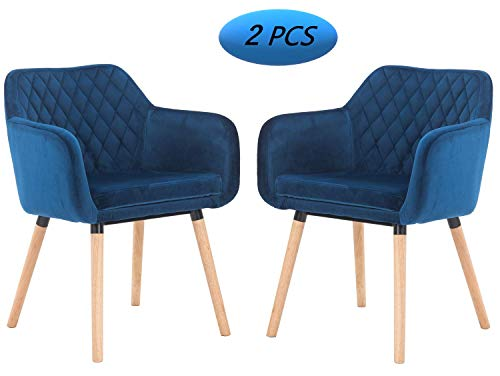 Danxee Fabric Accent Chair Home Dining Chair Dark Blue Velvet Armchair with Wood Leg for Living Room Kitchen Accent Chair Set of 2