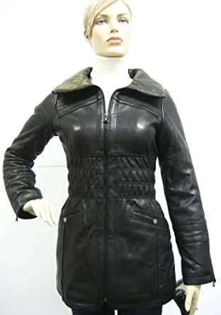 Amazon.com: Baby Phat Leather Winter Coat in black (Large