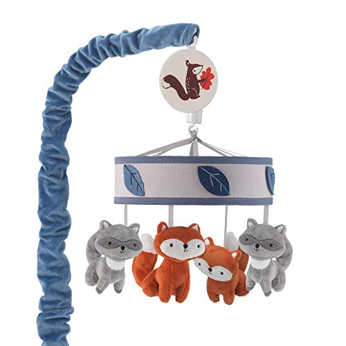 Lambs & Ivy Little Campers Musical Baby Crib Mobile - Blue, White, Animals (Mobile Blue Baby Crib)