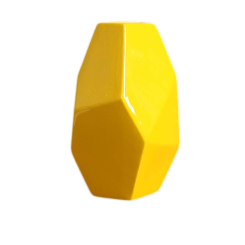 MAHONGQING 花瓶ダイニングテーブルセラミック花瓶装飾ホームアクセサリーリビングルームテレビキャビネット装飾クリエイティブ装飾フラワーアレンジメント黄色の工芸品 (Size : L) B07RND2B1S  Large